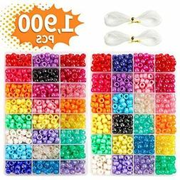 Pony Beads, 1,900 Pcs 9mm Set In 24 Colors With Elastic Stri