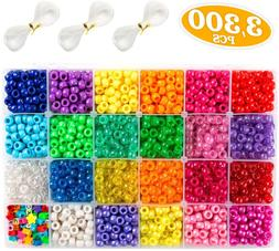 Pony Beads, 3,300 pcs 9mm Pony Beads Set in 23 Colors with L