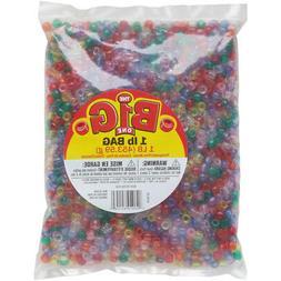 Pony Beads 6mmX9mm 1lb-Transparent Multicolor, 0726-35