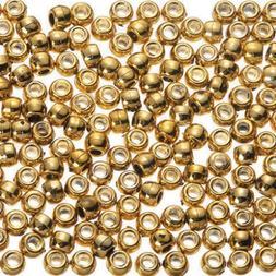 Darice Pony Beads, Metallic Bright Gold, 6 x 9mm, 1000pc Pkg