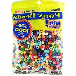 Pony Beads Multi Color 9mm 1000 Pcs in Bag #68
