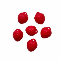 Czech pressed glass 3D strawberry fruit beads charms opaque