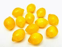 Czech pressed glass lemon fruit shaped beads 14mm yellow cit