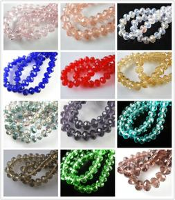 Pretty 100ps Faceted Glass Crystal Rondelle Beads Necklace&B