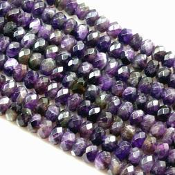 "Purple Amethyst Faceted Rondelle Gemstone Bead 15"" strand 4m"