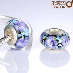 Purple Flower Series European Lampwork Murano Glass Beads Fo
