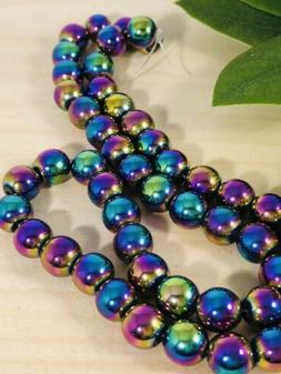 Rainbow Hematite Round Beads 8mm ~1 strand~50 Beads hole is
