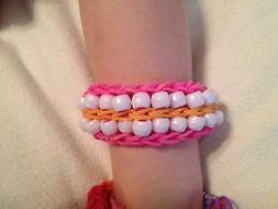 Rainbow Loom Bracelet Double Beaded Ladder Orange & Pink wit