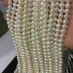 Real Natural White Freshwater Cultured Pearl Beads String St