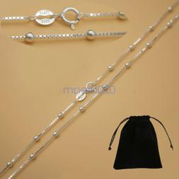 Real Solid 925 Sterling Silver Box Chain W/ Bead Necklace 16