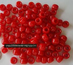 RED color pony beads aka crow beads 100pcs opague acrylic 9x