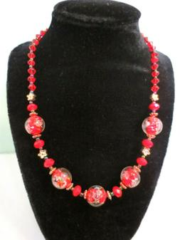 Red Lampwork glass Assorted Beads necklace 17""