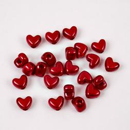 Red Pearl Heart shaped pony beads made USA for wedding decor