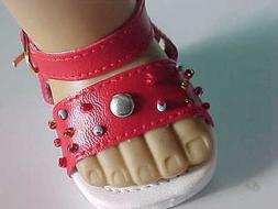 RED SANDALS features Beads and Silver Studs fits American Gi