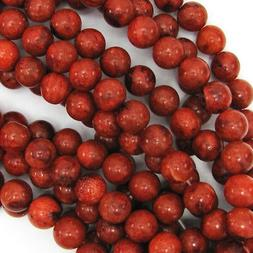 "Red Sponge Coral Round Beads Gemstone 15.5"" Strand 4mm 6mm 8"