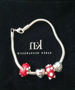 Karen Neuburger Red, White, and Silver Beaded Bracelet