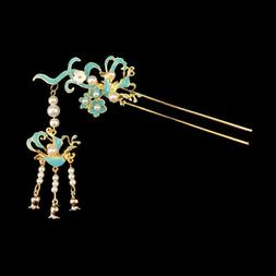 Retro women girl flower beads Tassel hair stick Accessory fo