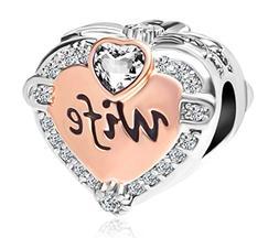 Rose Gold Wife Heart Love Charm Pandora Bracelet Charms Brac