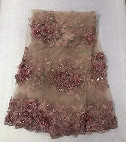 """Rose Pink  Embroidery Rhinestone Beads Lace Fabric 50"""" Wid"""