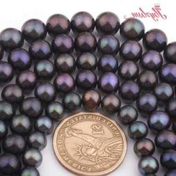 Round Black Freshwater Pearl Stone Jewelry Making Necklace B