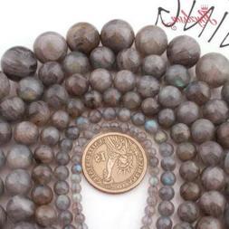 Round Natural Gray Rainbow Labradorite Beads  for Women  Men