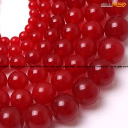 Round  Red Jade Gemstone Loose Beads For Jewelry Making 15 S