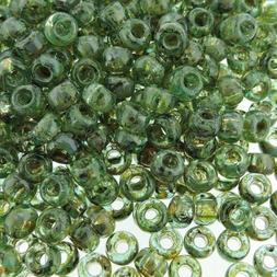 Miyuki Round Seed Beads Rocaille's 6/0 Picasso Olivine Trans