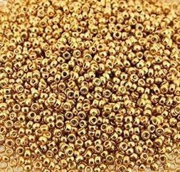 Miyuki Round Seed Beads Size 15/0 Galvanized Yellow Gold 8.2