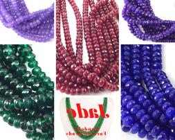 """Ruby Faceted Jade Rondelle Beads 15"""" strand Green Emerald, S"""