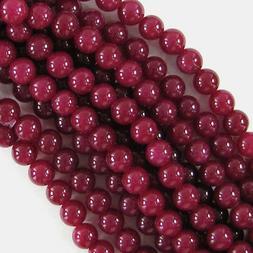 "Ruby Red Jade Round Beads Gemstone 15"" Strand 3mm 4mm 6mm 8m"