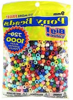 Sale Pony Beads Mixed Multi Color 9mm 1000 Pcs in Bag