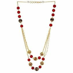 Sansar India Beaded 2 Layer Necklace for Girls and Women