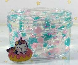 "SCENTED Clear SLIME ""OASIS"" THICK Pink Green Glitter Beads C"