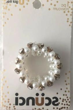 Scunci Silver/ White Beaded Stretch ponytail holder.