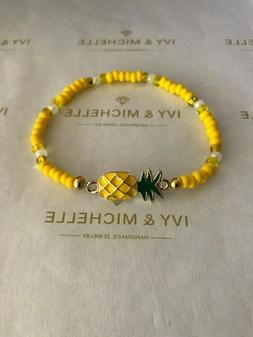 Seed Beads Yellow Mix With  Gold Tone Pineapple Link Bracele