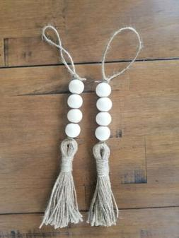 Set of 2 Handmade Wood Bead Hanging Decor with Tassels Garla