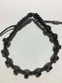 Shamballa Adjustable Braided Bracelet Black Hematite Beads H