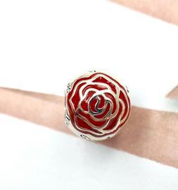 Pandora Silver 925 ALE Disney Belle's Enchanted Rose Red Cha