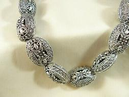 Silver Beads Bali Style Oval Center drilled Lovely design 21