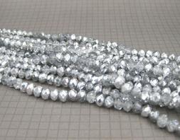 Silver Crystal Beads Jewelry Making Supplies Spacer Glass Be