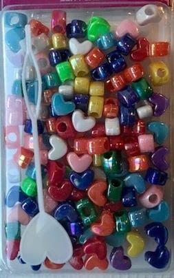 Small Multicolor Heart shaped hair beads for braids, twists,