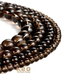 Smoky Quartz Round Beads Natural Gemstone Loose Beads 15.5""