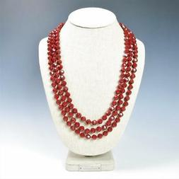 """Sparkling Faceted Ruby Red Crystals Bead Knotted 72"""" Long St"""