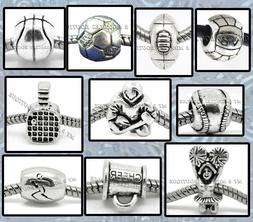SPORTS Ball BEADS | Silver Charms for Bracelets Necklaces |