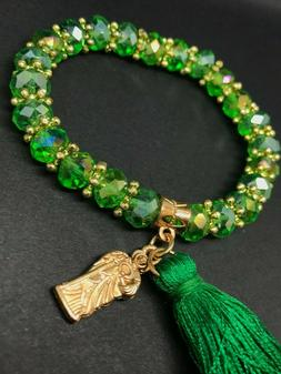 St Jude Green Beads with Tassel Bracelet for Hope and Faith