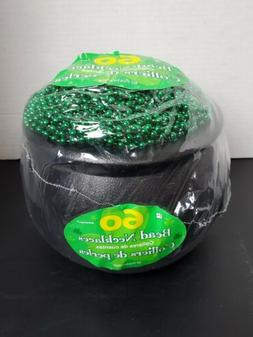 St patricks day Pot Of Beads 60 Strings Green Beads party fa
