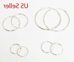 STERLING Silver baby kid  adult hoop earring 10 12 14 16 18