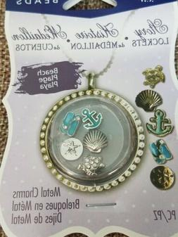 Blue Moon Beads Story Lockets Metal Charms - BEACH -  Set of
