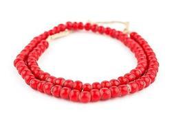 Super Jumbo Padre-Sized Red White Heart Beads 9mm Ghana Afri