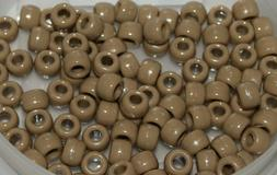 TAN Opaque Pony Beads 9x6mm 100pcs Acrylic USA made crafts